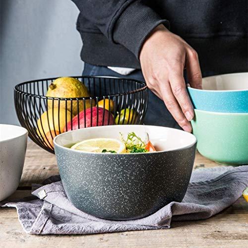 GAXQFEI Cuencos de Sopa Cerámica Cerámica Capacidad Ramen Tazón Cereal Bowl Restaurante Sopa Bowl Fruit Ensalada Cuenco Simple Hogar Vajilla,Negro