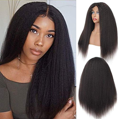 SINGLE BEST Kinky Straight Hair 4x4 Lace Front Wig with Baby Hair 9A Brazilian Virgin Hair Italian Yaki Straight Glueless Lace Closure Wig for Woman 20inches
