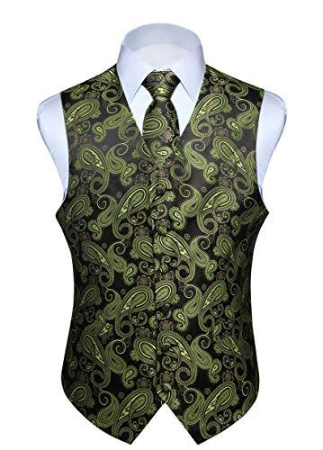 Hisdern Hisdern Manner Paisley Floral Jacquard Weste & Krawatte und Einstecktuch Weste Anzug Set, Olive und Schwarz, Gr.-L (Brust 46 Zoll)
