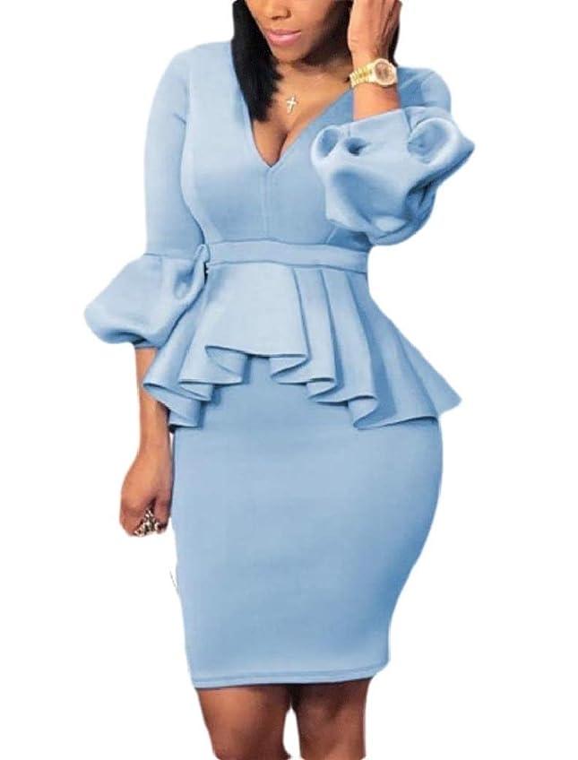 適合スプリット規範GodeyesW 女性Pepum Vネックビジネスキャリアボディスーツ包帯スカートドレス