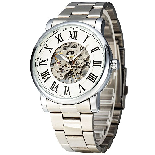 Winner hombre de esqueleto vestido estilo número romano grande mate shellwrist reloj