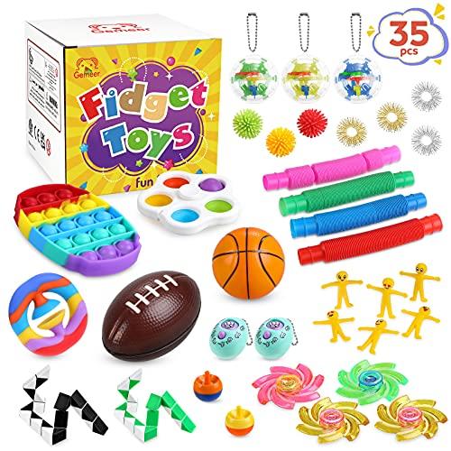 Gemeer 35 Piezas Fidget Toys, Fidget Toys Pack con Simple Dimple para Autismo, Antiestres, Juguetes para Aliviar la Ansiedad, Regalo Anti-ansiedad para Adultos y Personas con Autismo y TDAH