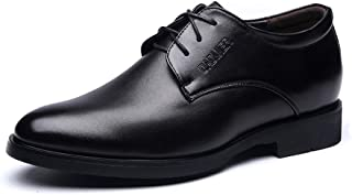 "shangruiqi Men's Lace Up Business Oxfrods PU Leather Loafer Elevator Shoes 2""/(6cm) Taller Removable Height Increasing Insole Abrasion Resistant (Color : Black, Size : 5.5 UK)"