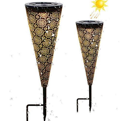 2 lámparas LED de jardín solares – IP65 resistente al agua lámpara solar para exteriores patio balcón jardín