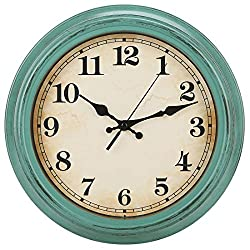 YUMTIM 12 Inch Vintage/Retro Wall Clock,Battery Operated Movement Silent Non Ticking Quality Quartz Clock Wall Decorative for Kitchen/Bedroom/Living Room/Bathroom/Office with Arabic-Olive Green