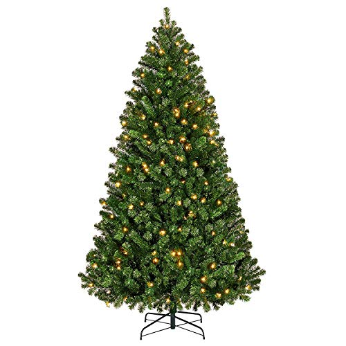 YAHEETECH Pre-Lit Artificial Hinged Christmas Spruce Tree Holiday Decoration with 300 Warm White Lights and 818 Branch Tip,6ft