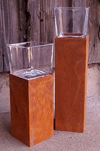 Dekostüberl Rostalgie Edelrost Windlicht Säule mit Glasaufsatz klein H20cm, inkl. Herz 8x6cm Beleuchtung Kerze Deko-Objekt