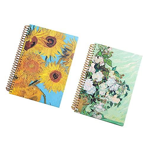 Libretas Bonitas Cuaderno Forro Diary Girl EncuadernacióN En Espiral Libro De ImáGenes Material De PapeleríA Escolar Cuaderno De Estudiante Cuaderno De Espiral De Papel (Style : Sunflower+Vase)