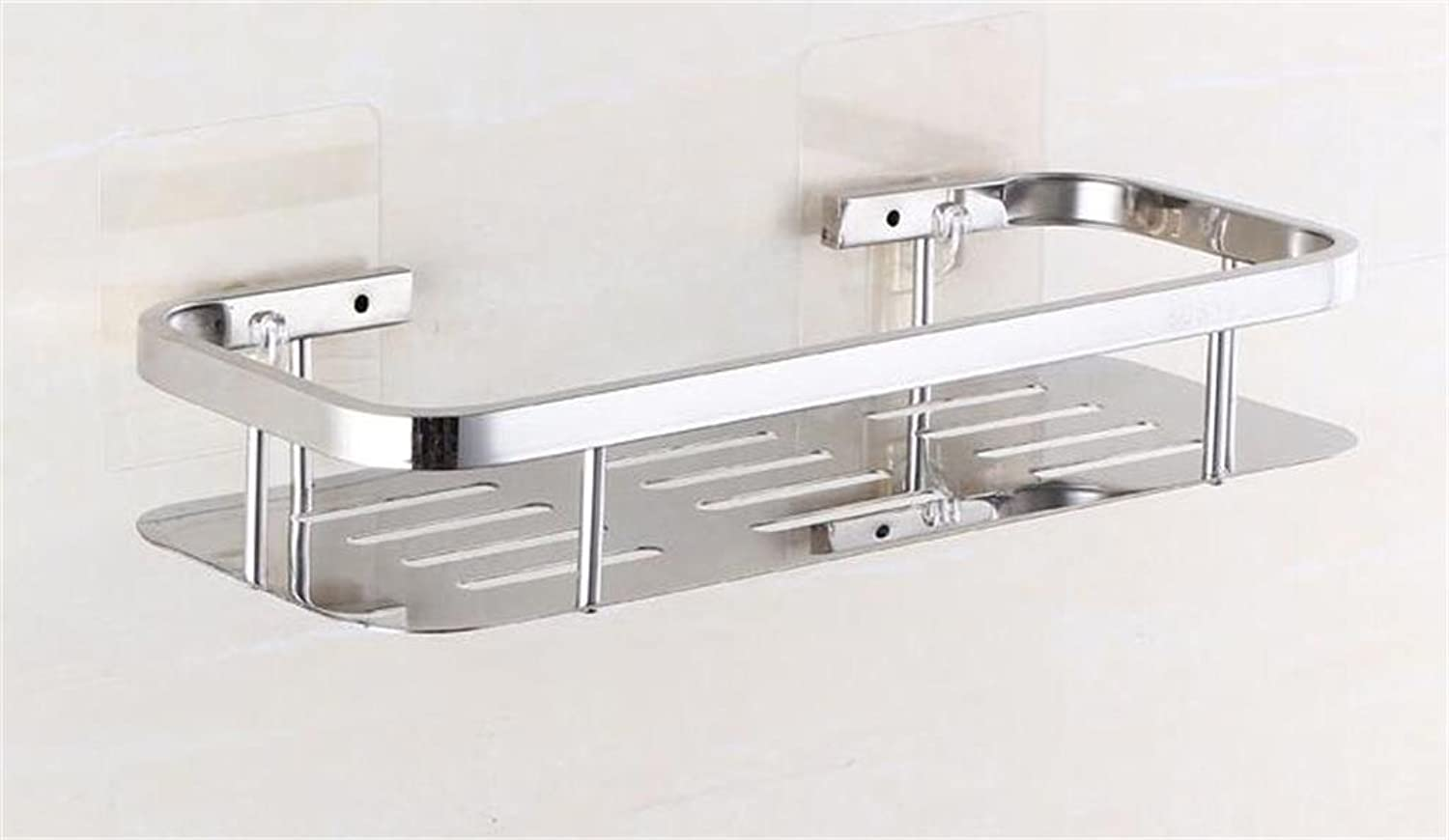 Bathroom Kitchen Multifunction Shelving Storage Rack Stainless Steel Bathroom Suction Wall Shelf (color   1)
