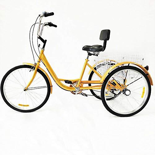 Triciclo de bicicleta para adulto, 24 pulgadas, 6 velocidades, 3 ruedas, con respaldo y cesta de la compra, color amarillo