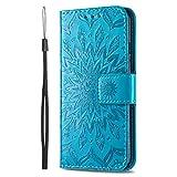 KKEIKO Hülle für Sony Xperia L4, PU Leder Brieftasche Schutzhülle Klapphülle, Sun Blumen Design Stoßfest HandyHülle für Sony Xperia L4 - Blau