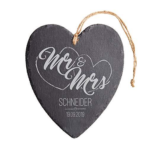 Casa Vivente Schieferherz mit Gravur zur Hochzeit, Motiv Herzen, Mr and Mrs, Personalisiert mit...