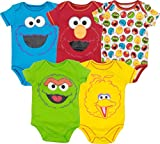 Sesame Street Baby Boy Girl 5 Pack Bodysuits - Elmo, Cookie Monster, Oscar and Big Bird (12 Months)