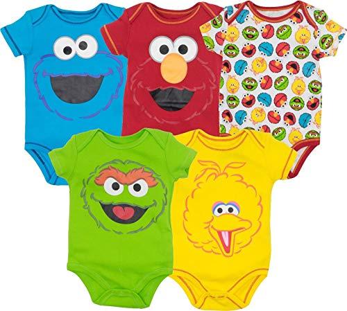 Sesame Street Baby Boy Girl 5 Pack Bodysuits - Elmo, Cookie Monster, Oscar and Big Bird (24 Months)