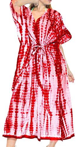 LA LEELA Mujeres Caftán Algodón túnica Tie Dye Kimono Libre tamaño Largo Maxi Vestido de Fiesta para Loungewear Vacaciones Ropa de Dormir Playa Todos los días Cubrir Vestidos Blood Rojo_N768