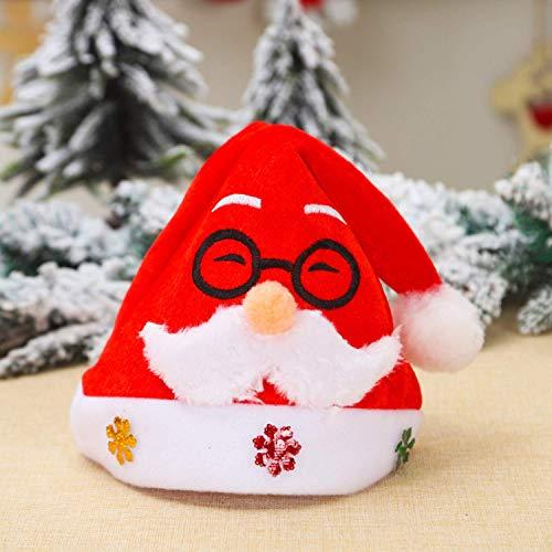 Teamkio Weihnachtsmütze Christmas Hat Mützen Knit Hut Xmas Party Santa Cap Plüsch Rand Weihnachtsfeier Rot Santa (Color-1)