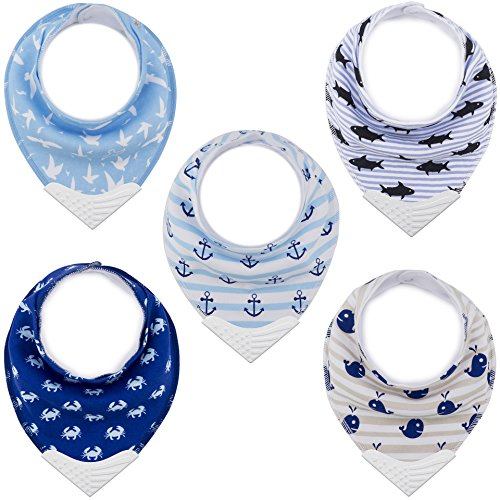 Bandana Bibs with Teething Corner, Teething Bib by Giftty, BPA-Free Silicone Teether and Adjustable Snap for Baby Boys and Girls (Aqua, 5-Pack)