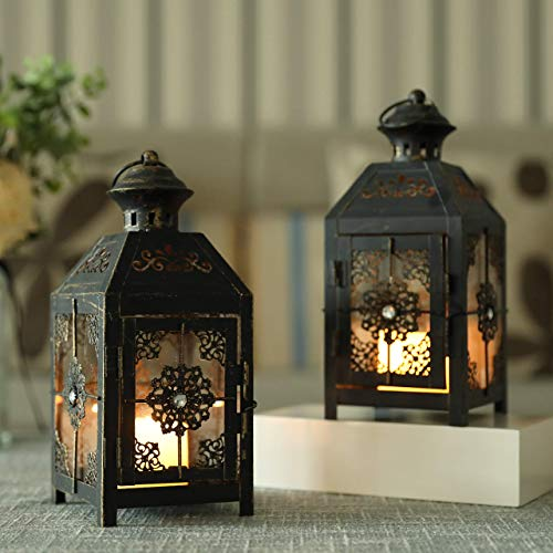 JHY DESIGN Set of 2 Decorative Candle Lantern 9.5''High Metal Candle Lantern Vintage Style Hanging Lantern for Wedding Parties Indoor Outdoor(Black with Gold Brush)