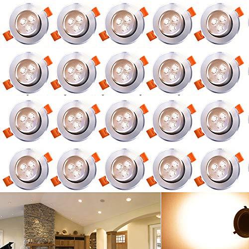 Hengda® 3 W Einbauleuchten LED Beleuchtung in 3 Spotlights Dimmbar Warmweiß 3200 Kelvin 245 lumen 230 Volt Einbauspots Set einbaufertig für Wohnraum decke, 20er-Pack