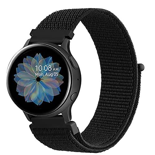 DEOU Correa para Samsung Galaxy Watch Active 2 40mm 44mm & Galaxy Watch Active & Galaxy Watch 3 41mm & Galaxy Watch 42mm,20mm Nylon Pulseras de Repuesto para Galaxy Watch Active 2(Negro)