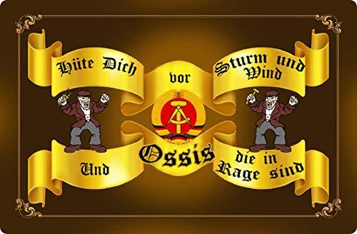 Blechschild 20x30cm gewölbt Hüte Dich vor Sturm und Wind Ossis DDR Sprüche Deko Geschenk Schild