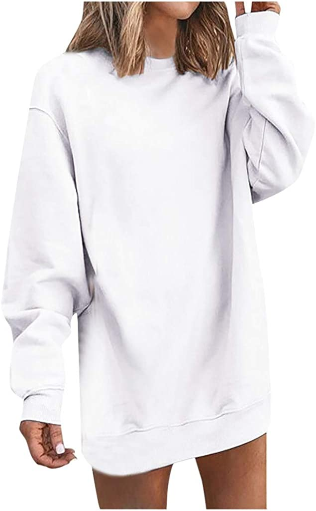iQKA Women's Fashion Long Sleeve O Neck Sweatshirt Dress Casual Solid Loose Mini Dress Vestido