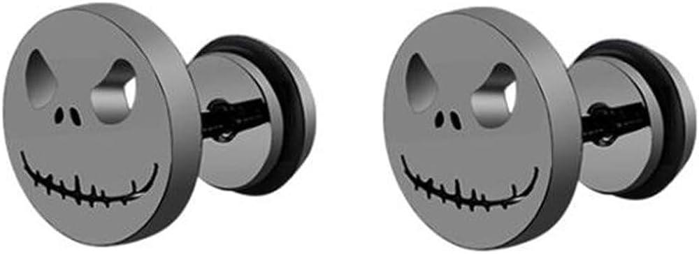 Stainless Steel Gothic Skull Cut Face Coktail Party Halloween Biker Stud Earrings