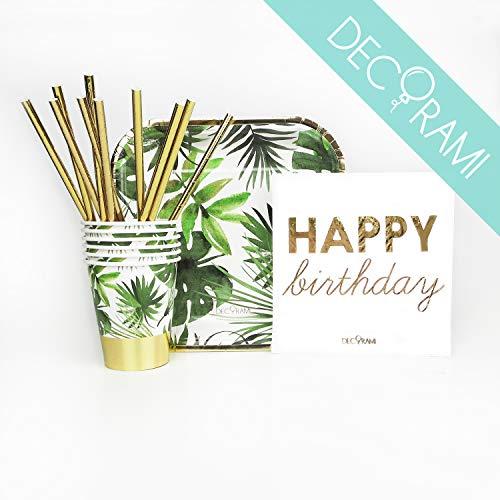 DECORAMI Premium Partygeschirr Gesamt Set 38-TLG. | Happy Birthday Deko Geburtstag | aus Papier/Pappe, nachhaltig | Pappgeschirr Set | Einweggeschirr | Palmblatt Print | weiß grün Gold Tropical