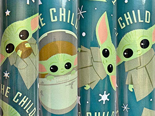 1 Roll Teal The Mandalorian The Child Birthday Christmas Wrapping Paper 40 sq ft