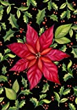 Toland Home Garden Poinsettia 12.5 x 18 Inch Decorative Colorful Red Christmas Flower Holly Leaf Garden Flag - 112534