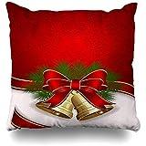 WHEYT Federa per Cuscino da tiro 40 X 40 cm Celebrazione del Natale Bianco Campane a Due Foglie Bagliore dell'Arco Trame Natale Jingle Ornamentali Raso Vacanze