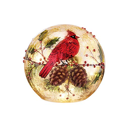 Collections Etc Cardinal Lighted Ball Christmas Tabletop Decoration - Holiday Home Accents for The Season