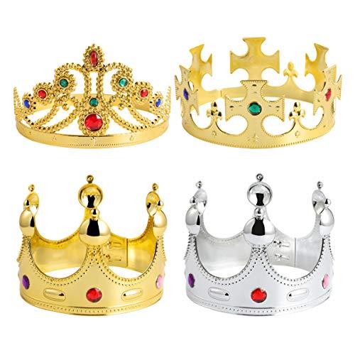 STOBOK Royal Crown King Or Ornée de Bijoux Couronne Princesse Tiara Prince Costume Accessoire pour Enfants D' Anniversaire De Mariage Halloween Partie 4 Pièces