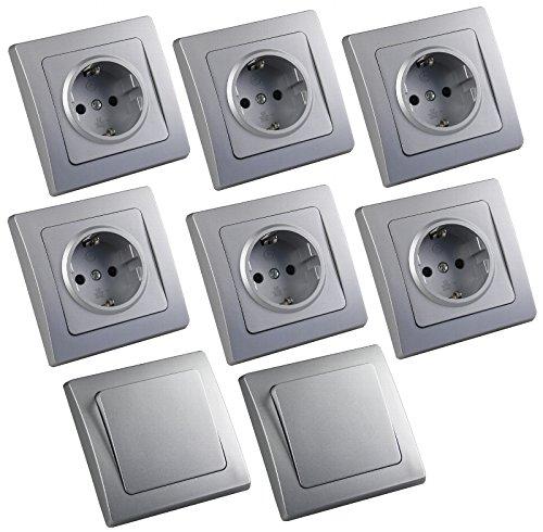 DELPHI - Lote de enchufes e interruptores con marco, 8 piezas, color plateado mate