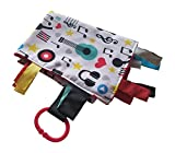 """Baby Sensory, Security & Teething Closed Ribbon Tag Lovey Blanket with Minky Dot Fabric: 14""""X18"""" (Music)"""