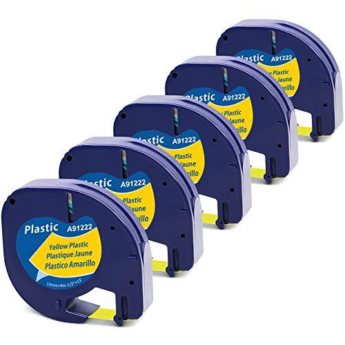 MarkField Cinta de Plástico Etiquetas Compatible para usar en lugar de Dymo LetraTag Amarillo Recambios 91202 S0721620 para Dymo LetraTag LT-100H LT-100T LT-110T QX 50 XR XM 2000 Plus, 12mm x 4m