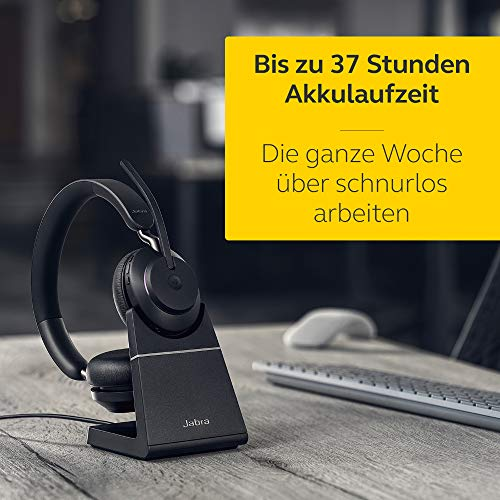 Jabra Evolve2 65 Wireless PC Headset mit Ladestation – Noise Cancelling Microsoft Teams Zertifizierte Stereo Kopfhörer mit langer Akkulaufzeit – USB-A Bluetooth Adapter – Schwarz