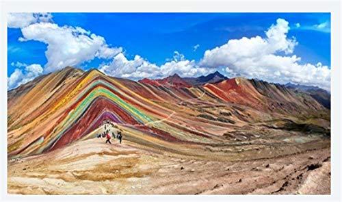 ZZXSY Puzzle Madera 1000 Piezas Turistas No Identificados Caminando sobre La Montaña del Arco Iris En Cusco Perú Adecuado