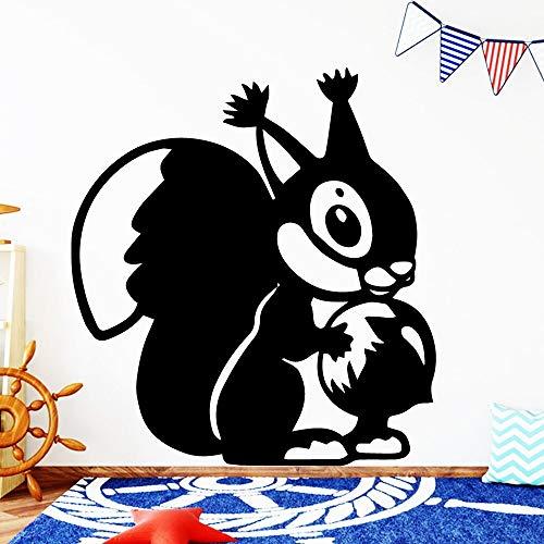 Quszpm Hermosa Ardilla decoración del hogar Pegatinas de Vinilo para Pared para niños habitación de bebé decoración del hogar 58 cm x 63 cm