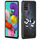 DISNEY COLLECTION Black Tire Tread Case for Samsung Galaxy A51(Not 5G) Starry Minnie Mickey Kiss Full-Body Shockproof Phone Cover Slim Cartoon Character Non-Slip Shell for Girls Boys