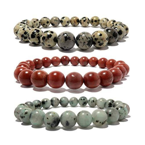 """I Dig Crystals Jasper Medley Bracelet Boutique Red Green Sesame Spotted Dalmatian Stretch Handmade Genuine Stone Trio B01 (5.5"""")"""