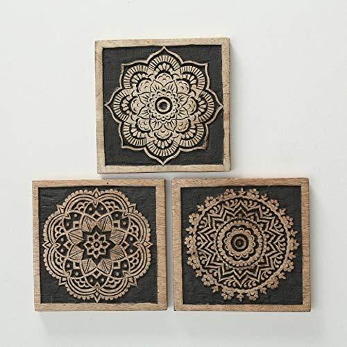 CasaJame Wanddeko Mandala orientalisch, Wandbilder Ornamente Gold, Holz Wandschmuck im 3er-Set, 20x20cm