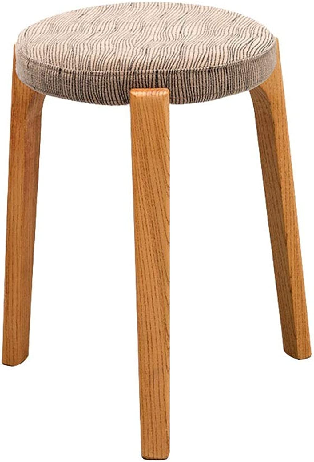 Footstools Solid Wood Stool Chair Fabric Round Three Leg Log Support Living Room Dining Stool Seat Washable Stool Cover (color   E)