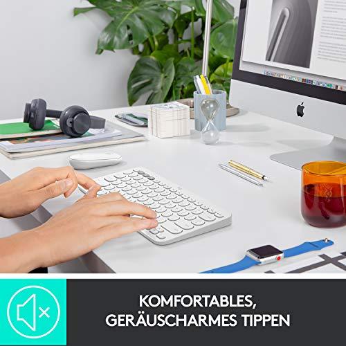 Logitech K380 kabellose Multi-Device Bluetooth-Tastatur mit Easy-Switch für bis zu 3 Geräte, schlank – PC, Notebook, Windows, Mac, Chrome OS, Android, iPad OS, Apple TV, Deutsches QWERTZ-Layout - Weiß