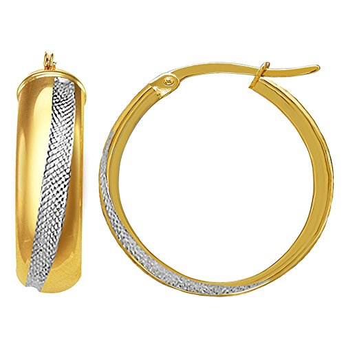 Kreolen, 14 Karat Gold, 2 Farbtöne, rund, Durchmesser 20 mm