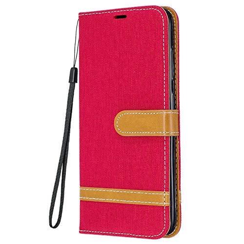 Yiizy Funda para Samsung Galaxy S21fe, Carcasa Galaxy S21 Lite Funda de Cuero con Tapa, Fundas para Tarjeteros de Crédito, Cierre Magnético Silicona Protector Estuche Samsung S21fe, S21 Lite (Rojo)