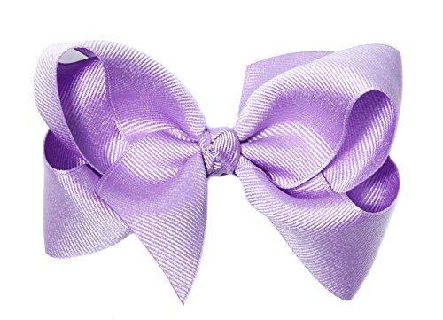 Anna Belen Girls'Lila' Large Grosgrain Bow Clip O/S Lavender