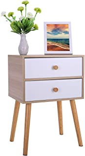 End Side Table Nightstand with 2 Drawers, Modern Minimalist Cabinet Storage Solid Wood Legs, Mid-Century Accent for Bedroom Living Storage Home Furniture (11.8×15.7×23inch, Yellow)