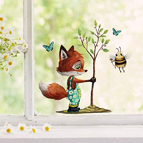 Fensterbilder Fensterbild Fuchs Reh & Hasen mit Pusteblume Osterkorb Ostern wiederverwendbar Fensterdeko bf31 - ausgewählte Farbe: *bunt* ausgewählte Größe: *9. Fuchs pflanzt Baum*