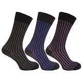 Universaltextilien Herren Socken mit Bambus-Anteil, gestreift, 3er-Pack (39-45 EUR) (Schwarz/Lila/Blau/Grau)